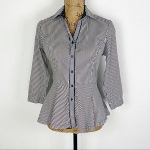 Grand & Greene Striped Peplum Button Down Shirt